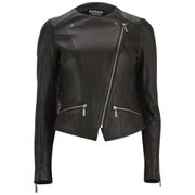 Barbour International Women's Shadow Mid Leather Jacket - Black