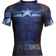Under Armour Men's Captain America Compression Short Sleeved T-Shirt - Navy/Silver/Red