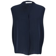 Samsoe & Samsoe Womens' Waddi Silk Sleeveless Shirt - Navy