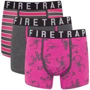Firetrap Men's Aloha 3-Pack Boxers - Grey/Fuchsia