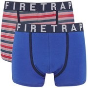 Firetrap Men's Multi Stripe 2-Pack Boxers - Electric Blue/Striped
