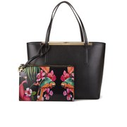 Ted Baker Tulip Printed Lining Crosshatch Shopper Bag - Black