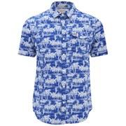 Original Penguin Men's Tiki Short Sleeve Check Shirt - Marazine Blue
