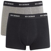 Ben Sherman Men's 2-Pack Ernie Trunks - Grey Stripe/Black
