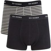 Ben Sherman Men's 2-Pack Trunks - Grey/Black Stripe/Black