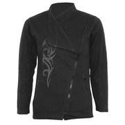 Spiral Women's STAINED TRIBAL Slant Zip Women Biker Jacket - Black