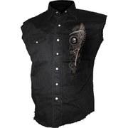 Spiral Men's STEAM PUNK RIDER Sleeveless Stone Washed Worker Shirt - Black