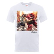 Marvel Avengers Men's Age of Ultron Hulk vs. Hulkbuster Scene T-Shirt - White