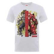 Marvel Avengers Men's Age of Ultron Hulk vs. Hulkbuster Split T-Shirt - Ash Grey