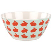 Anorak Kissing Rabbits Melamine Salad Bowl - Orange/Blue