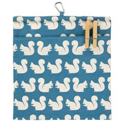 Anorak Kissing Squirrels Peg Bag - Green/Blue/White