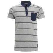 Brave Soul Men's Lorca Striped Polo Shirt - Light Grey Marl