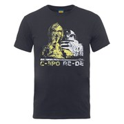 Star Wars Men's C-3PO and R2-D2 Head Distressed T-Shirt - Charcoal