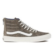 Vans Women's SK8-Hi Slim Zip Cheetah Suede Hi-Top Trainers - Black/Tan
