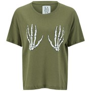 Zoe Karssen Women's Skeleton Hands T-Shirt - Green