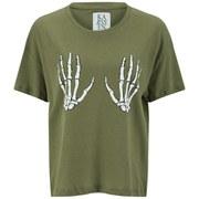 Zoe Karssen Women's Skeleton Hands T-Shirt - Green