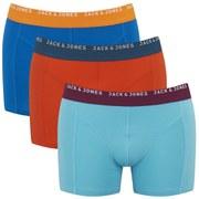 Jack & Jones Men's Simple 3 Pack Boxers - Electric Blue/Maui Blue/Cherry Tomato