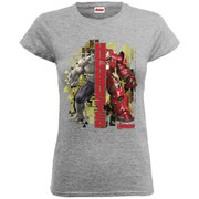 Marvel Women's Avengers Age of Ultron Hulk Vs. Hulkbuster Split T-Shirt - Heather Grey