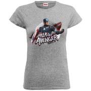 Marvel Women's Avengers Age of Ultron Captain America The First Avenger T-Shirt - Heather Grey