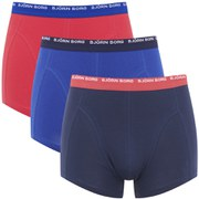 Bjorn Borg Men's Triple Pack Seasonal Solids Contrast Boxer Shorts - Peacoat