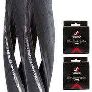Vittoria Diamante Pro III Radiale Clincher Road Tyre Twin Pack with 2 Free Inner Tubes - Black 700c x 24mm