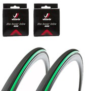Vittoria Open Pave CG Clincher Road Tyre Twin Pack with 2 Free Inner Tubes - Black/Green 700c x 27mm