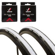 Vittoria Rubino Pro Clincher Road Tyre Twin Pack with 2 Free Inner Tubes - White/Black 700c x 23mm
