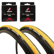 Vittoria Rubino Pro Clincher Road Tyre Twin Pack with 2 Free Tubes - Yellow/Black 700c x 23mm