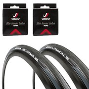 Michelin Lithion 2 Clincher Road Tyre Twin Pack with 2 Free Tubes Grey/Black 700c x 23mm