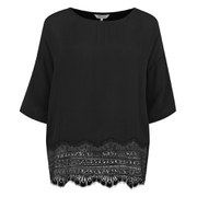 Great Plains Women's Moulin Rouge Lace Trim Top - Black