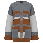 VILA Women's Dahlia Colour Block Cardigan - Light Grey Melange