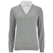 VILA Women's Shirt Detail Knitted Jumper - Grey