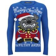 Conspiracy Men's Pitbull Christmas Jumper - Blue