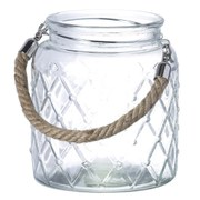 Parlane Hurricane Lantern with Rope Handle