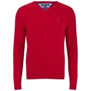 Tommy Hilfiger Men's V Neck Basic Jumper - Red