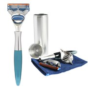 eShave Men's 5 Blade Travel Razor with Canister - Blue