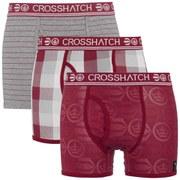 Crosshatch Men's Blogo Printed 3 Pack Boxers - Sundried Tomato