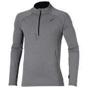 Asics Men's Long Sleeve 1/2 Zip Running Top - Dark Grey Heather