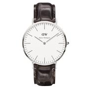 Daniel Wellington Classic York Silver Watch - Croc Brown