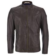 BOSS Orange Men's Jermon Leather Biker Jacket - Brown