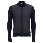 BOSS Orange Men's Abomberny Zipped Bomber Cardigan - Navy
