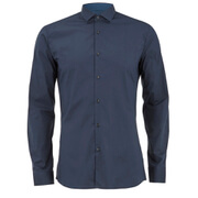 HUGO Men's Erondo Long Sleeve Shirt with Contrast Collar - Navy