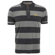 Tokyo Laundry Men's Stripe Logo Polo Shirt - Grey/Charcoal