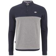 Le Shark Men's Long Sleeve Colour Blocked Pique Polo Shirt - Mid Grey Marl/Navy