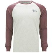 Tokyo Laundry Men's Raglan Sleeve Logo Top - Bordeaux Marl/Grey