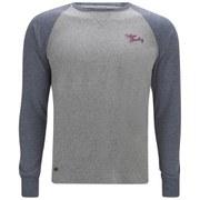 Tokyo Laundry Men's Raglan Sleeve Logo Top - Indigo Marl/Grey