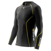 Skins A200 Mens Thermal Long Sleeve Compression Round Neck Top - Black/Yellow