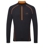 RonHill Men's Vizion Thermal 200 1/2 Zip Long Sleeve Top - Black/Orange
