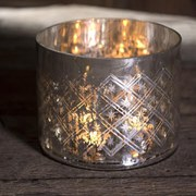 Nkuku Etched Glass Tea Light Holder (9 x 8cm)