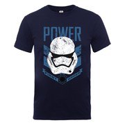 Star Wars Men's The Force Awakens Power First Order Stormtrooper Head Blue T-Shirt - Navy